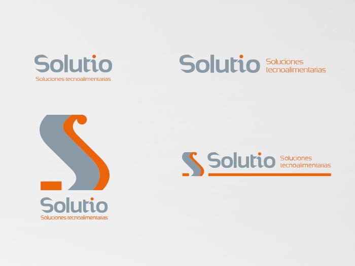 Diferentes disposiciones del logo de Solutio