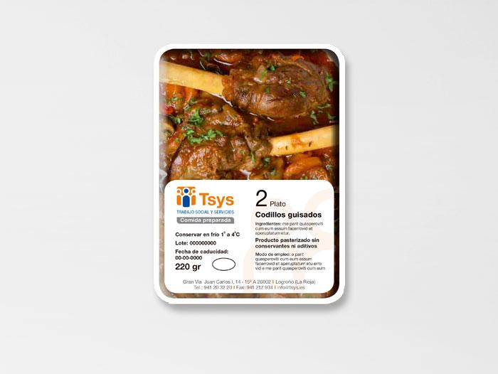 Etiquetas para los menús a domicilio que sirve la empresa