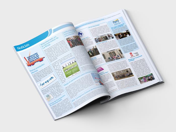 Interior de la revista de la Federacion Riojana de Voluntariado Social