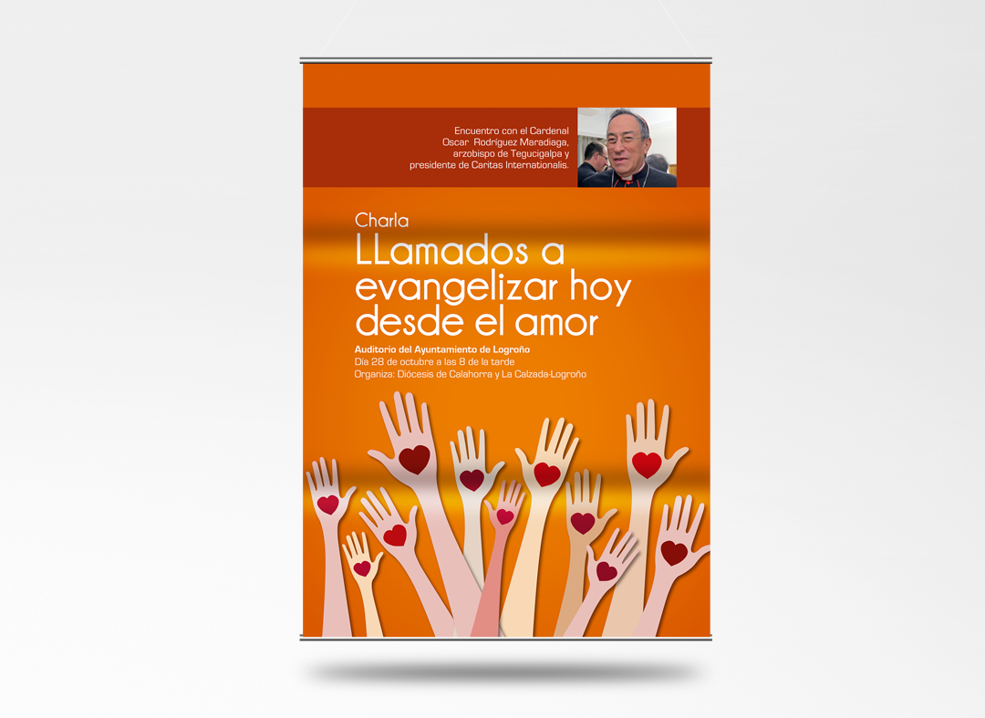 Cartel de la visita del cardenal Madariaga a Logroño