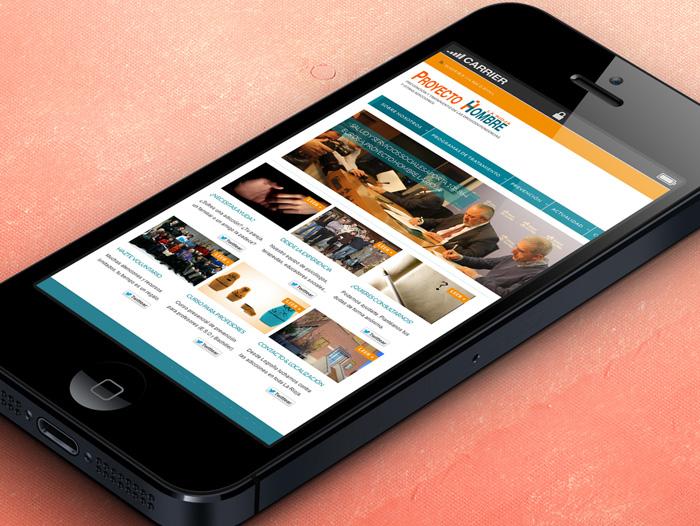 La página web se puede ver en dispositivos móviles