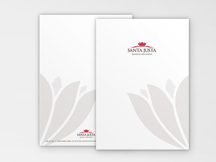 Ejemplos del material de papelería de Residencia Santa Justa