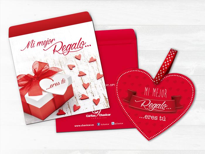 Diseño del sobre y el corazón decorativo de la campaña